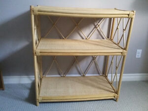 Solid bamboo three tier shelving unit bookcase London Ontario image 2