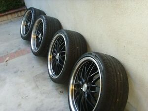 22 inch MRR GT 1 black chrome wheels with rubber.