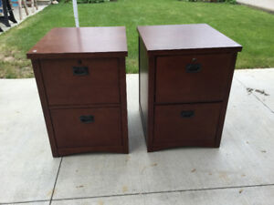 Mission style wooden/locking Filing cabinets