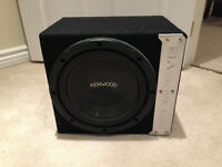 MTX Car Amp and  Kenwood bass works sub in box like new