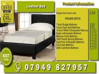 New SINGLE , KINGSIZE , SMALL DOUBLE , DOUBLE LEATHER Bed WITH Matrs