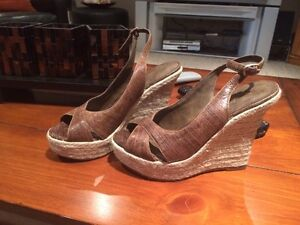 Brown Wedge Heel Aldo Leather Sandals for Sale