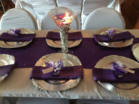 Beautiful Charger Plates, Table Linen and Centerpieces For Rent