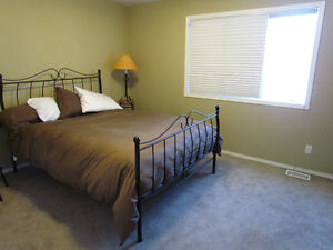 $95 -- Queen Bed frame with mattress - avail. April 30th