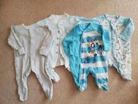 4 x Sleepsuits TU George M&S Boy 0-3 months