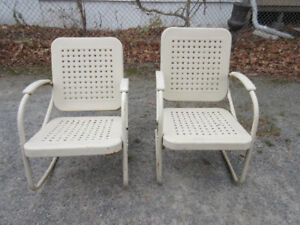 PAIR Genuine Rare Antique(c1940) Metal Chairs in Great Condition