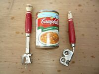VINTAGE RED AND WHITE KITCHEN TOOLS. CROSS POSTED.