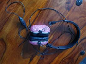 Diamante Pink Headphones with volume control