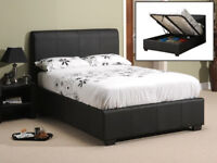 Double, ottoman, storage, leather bed, Hydraulic lift up bed, Memory Foam mattress. Black, brown,