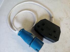 16A Ceeform Plug to Double 13A Socket 240V Converter Caravan Adaptor L