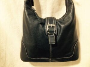 Small Hobo Style Black Leather Fossil Hand/Shoulder Bag