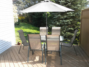 Patio Table & Chairs Set with Umbrella