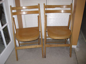 2 wood folding chairs
