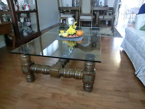 ANTIQUE GLASS TOP COFFEE TABLE Kawartha Lakes Peterborough Area image 1