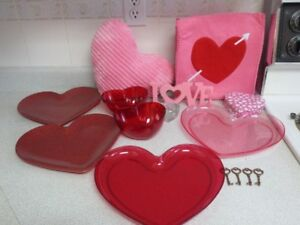 Heart Shaped/Print Pillow, Candle holder, bag, plates, bowls