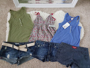 Set of 3 denim shorts & tops - all for $10