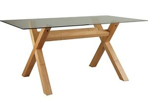 Oak Cross Leg Clear Glass Top Rectangle 4 or 6 Seater Dining Table Bevelled  EdgeOak Glass Dining Tables   eBay. Round Oak Dining Table Glass Top. Home Design Ideas