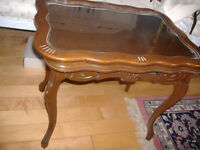 Lovely antique carved walnut occasional table with tray