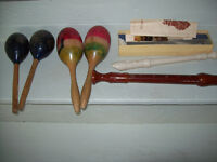 2 sets of maracas and 2 recorders