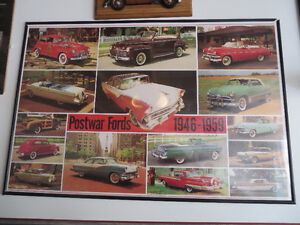 3 Framed 1950's Ford Posters--- Rare