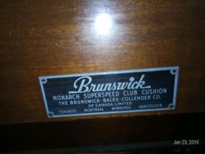 50yr+antique Brunswick pool table 5 x 10   1 inch slate