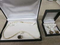 Pearls, Gold, and Topaz Necklace, W/ Earrings set. New in Box.