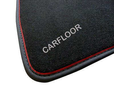 Für Mercedes SL R230 Fußmatten Velours schwarz m Nubukband u roter Absetzung