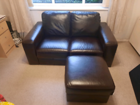 3+2 Seater leather sofas and stool