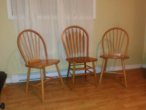 2 maple 1 oak Dining chairs