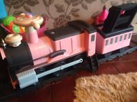 Kids electric train on track