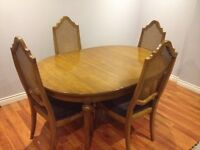 Solid Oak Wood Dining Table Set with 6 Caned Chairs $195