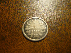 Vintage Canadian 1891, 5 Cent Coin Very Good Condition!