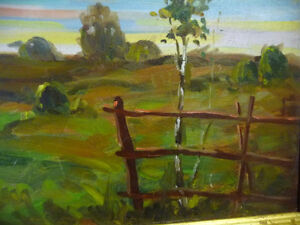 "Vintage Oil by Peter Stoyan (Stoyanoff) ""Sunset"", AOCA, 1952 Stratford Kitchener Area image 10"