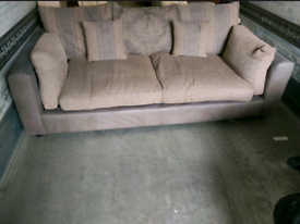 Sofa - Quality Extra Comfy Greyish Leather Effect and Creamish Fabric