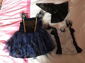 Girls Halloween dress, hat and top age 3-4. Excellent condition