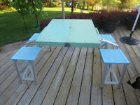 Portable Picnic Table Folding Outdoor Chair Bench (Teal)