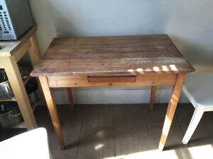 Small vintage kitchen table w/ 2 Ikea Ingolf chairs.