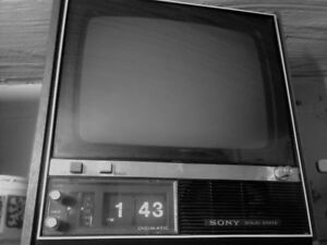 "Sony portable vintage Sony TV with ""Digimatic"" Clock"