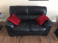 2x Black Leather Sofa's