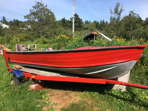 14' Aluminium boat with trailer and motor