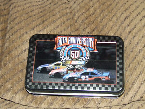 50th NASCAR Anniversary Tin & 2 Decks Of Playing Cards (NEW) $7