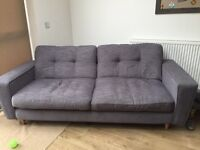 DFS Bennet grey fabric 4 seater sofa
