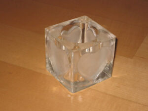 Decorative Tealight Candle Holder Box (Square Glass Heart)