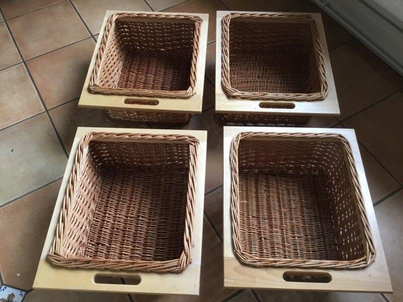 4 X Wicker And Wood Basket Kitchen Storage Vegetable Drawer