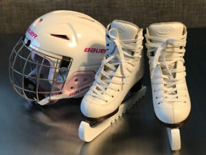 GAM kids figure skates size 13C & BAUER youth helmet. like new