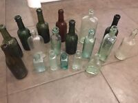 18 Vintage Glass Bottles