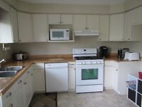 full kitchen cabinets & counter top, & sink & taps