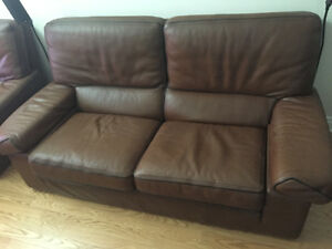 Caramel Leather sofa set and coffee table