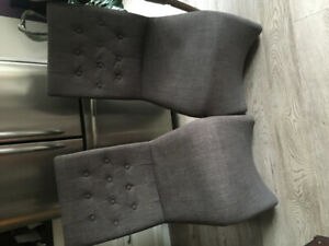 Four grey linen dining chairs contemporary $225