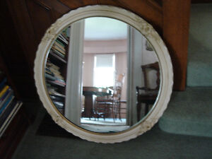 "Decorative Round Mirror, Antiqued, 33""Diameter"